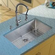 Vigo 32'' x 19'' Undermount Kitchen Sink with Faucet, Grid, Strainer and Dispenser