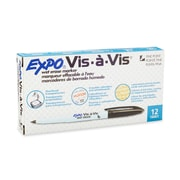Expo® Vis-a-vis® Wet-Erase Overhead Markers, Fine Point, Black, 12/pk (16001)