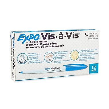 Expo® Vis-a-vis® Wet-Erase Overhead Markers, Fine Point, Blue, 12/pk (16003)