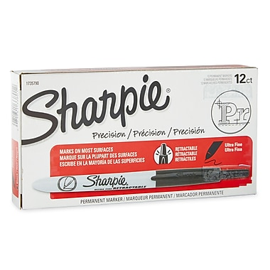 Sharpie® Retractable Permanent Markers, Ultra Fine Point, Black, 12/pk (1735790)