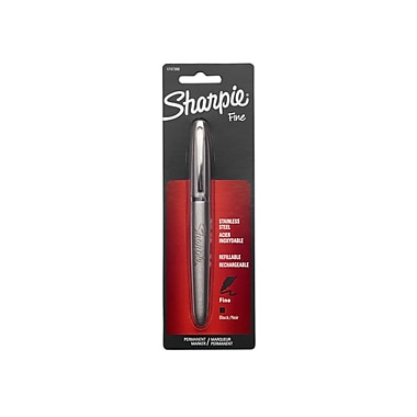 Sharpie® Stainless Steel Refillable Permanent Markers, Fine Point, Black (1747388)
