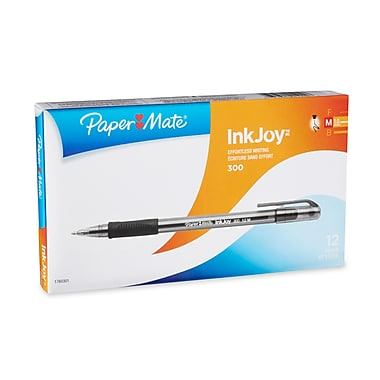Paper Mate® InkJoy™ 300 Ballpoint Stick Pens, Medium Point, Black, Dozen