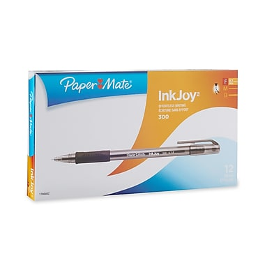 Paper Mate® InkJoy 300 Ballpoint Stick Pens, Fine Point, Black, 12/pk (1766482)