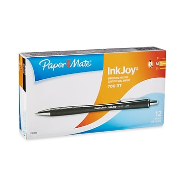 Paper Mate® InkJoy™ 700 Ballpoint Retractable Pens, Medium Point, Black Barrel/Black Ink, Dozen