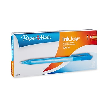 Paper Mate® InkJoy® 100RT Retractable Ballpoint Pens, Medium Point, Blue, Box of 12 (1951253)