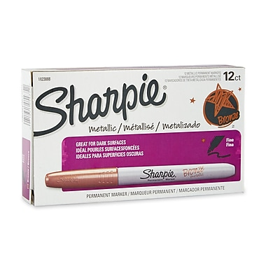 Sharpie® Metallic Fine Point Permanent Markers, Bronze, 12/pk (1823888)