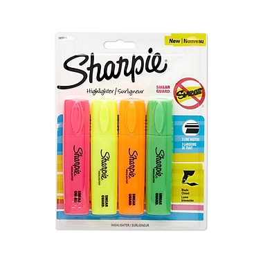 Sharpie® Blade Highlighters, Chisel Tip, Assorted Colors, 4/pk (1825633)
