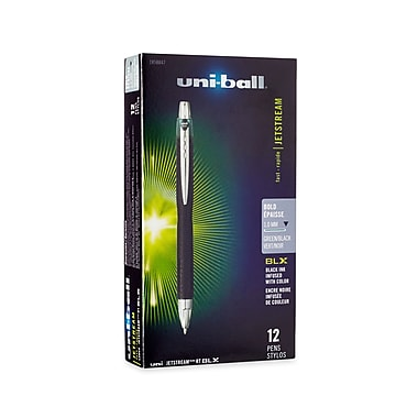 uni-ball® Jetstream RT BLX Retractable Rollerball Pen, Bold Point, Green/Black, 12/pk (1858847)