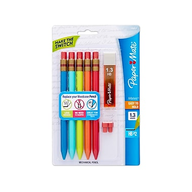 Paper Mate® Mates Mechanical Pencil Starter Set, Assorted, 1.3 mm Lead, 5/pk (1868817)