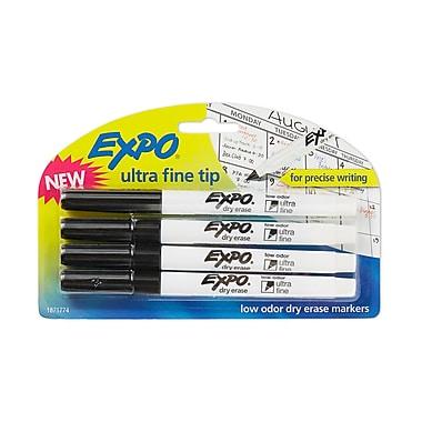 Expo® Low Odor Dry-Erase Markers, Ultra Fine Tip, Black, 4/pk (1871774)