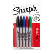 Sharpie® Fine Point Permanent Markers, Assorted, 5/pk (30653PP)