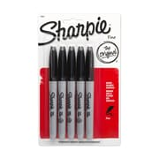 Sharpie® Fine Point Permanent Markers, Black, 5/pk (30665)