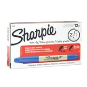 Sharpie® Twin-Tip Permanent Markers, Fine Point And Ultra Fine Point, Blue, 12/pk (32003)