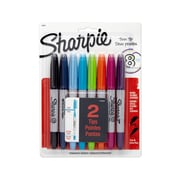 Sharpie® Twin Tip Permanent Markers, Fine/Ultra Fine Tips, Assorted Colors, 8/pk (33861PP)