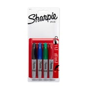 Sharpie® Mini Permanent Markers, Fine Point, Assorted Colors, 4/pk (35113PP)