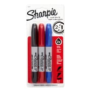 Sharpie® Super Twin Tip Permanent Markers, Fine Point and Chisel Tip, Assorted, 3/pk (36404)