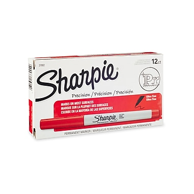 Sharpie® Ultra Fine Point Permanent Markers, Red, 12/pk (37002)