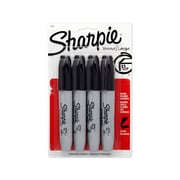 Sharpie® Permanent Markers, Chisel Tip, Black, 4/pk (38264PP)