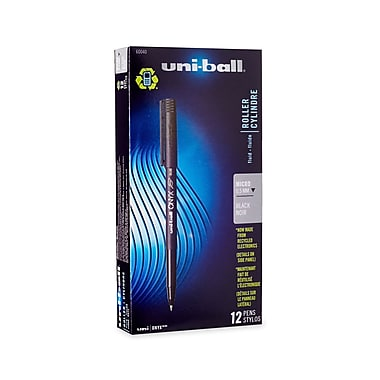 uni-ball® Onyx Rollerball Pen, Micro Point, Black, 12/pk (60040)