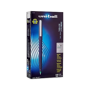 uni-ball® Stick Roller Ball Pen, 0.7 mm Fine, Green, 12/pk (60104)