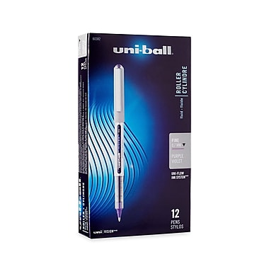 uni-ball® VISION Stick Rollerball Pen, 0.7 mm Fine, Majestic Purple, 12/pk (60382)