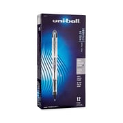 uni-ball Vision Elite Rollerball Pen, Bold Point, 0.8 mm, Black Ink/Silver Barrel, 12/pk (61231)