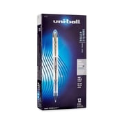 uni-ball Vision Elite Rollerball Pen, Bold Point, 0.8 mm, Blue-Black Ink/Silver Barrel, 12/pk (61232)
