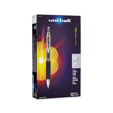 uni-ball® 207 Retractable Gel Pens, Micro Point, Black, 12/pk (61255)