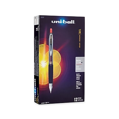uni-ball® 207 Retractable Gel Pens, Micro Point, Red, 12/pk (61257)