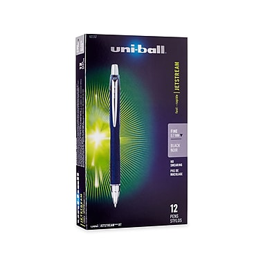 uni-ball® Jetstream RT Retractable Rollerball Pen, Fine Point, 0.7 mm, Black, 12/pk (62152)