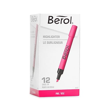 Berol® Highlighters, Pink, Chisel Tip, 12/pk (64327)
