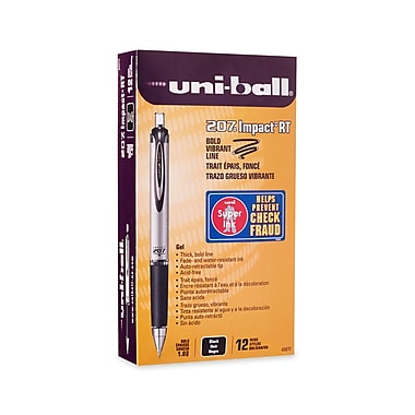 uni-ball® 207 Impact Retractable Gel Pens, Bold Point, Black, 12/pk (65870)