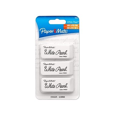 Paper Mate® White Pearl Latex-Free Plastic Eraser, 3/pk (70624)