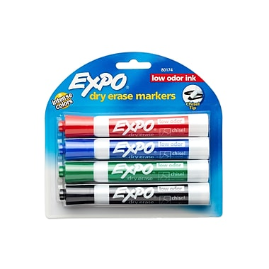 Expo® Dry-Erase Markers, Chisel Tip, Assorted, 4/pk (80174)