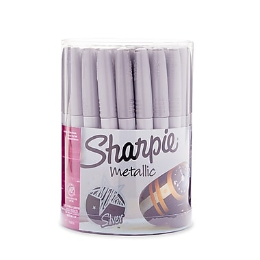 Sharpie® Metallic Permanent Markers, Fine Point, Silver Ink, 36/pk (9597)