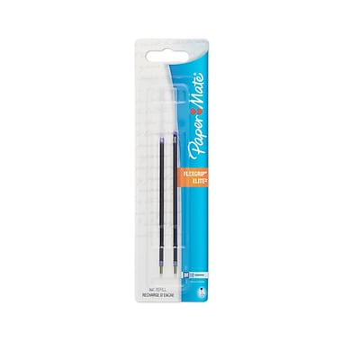 Paper Mate® Ballpoint Pen Refills for FlexGrip Elite Ballpoint Pens, 1.0 mm Medium, Blue, 2/Pk (9712431PP)