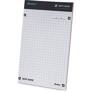 Ampad Shot Note Writing Pad-Dot Graph, 5 x 8, Dot Graph Ruled, 40 Sheets/Pad