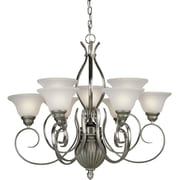 Forte Lighting 9-Light Shaded Chandelier; Comb of Brushd Nickel and River Rock / White Linen