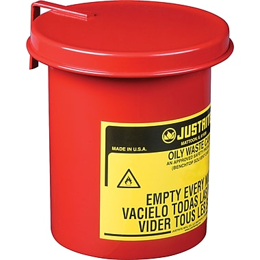 Justrite® Mini Bench Top Oily Waste Cans, 4 5/8