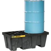 """Justrite® EcoPolyBlend™ Spill Control Pallets with Drain, 2-Drum, In-Line, 49"""" x 25"""" x 15 1/2"""", Black"""