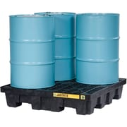 """Justrite® EcoPolyBlend™ Spill Control Pallets with Drain, 4-Drum, Square, 49"""" x 49"""" x 10 1/4"""", Black"""