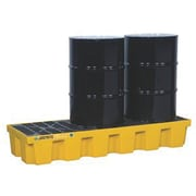 """Justrite® EcoPolyBlend™ Spill Control Pallets with Drain, 3-Drum, In-Line, 73"""" x 25"""" x 11 5/8"""", Yellow"""