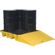 """Justrite® EcoPolyBlend™ Spill Control Pallet Accessories, Ramp for 4 Drum Square, 49"""" x 33"""" x 10 1/2"""", Yellow"""