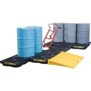 """Justrite® EcoPolyBlend™ Accumulation Centers, 1-Drum Unit, 25"""" x 25"""" x 5 1/2"""", Black"""