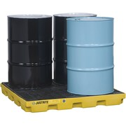 "Justrite® EcoPolyBlend™ Accumulation Centers, 4-Drum Unit,"" x 49"" x 5 1/2"", Yellow"