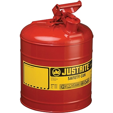 Justrite® Type I Safety Cans without Funnel, 5 Gal, 11 3/4