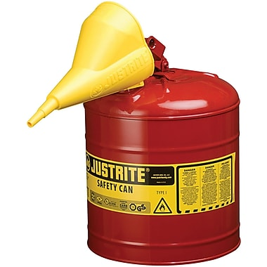 Justrite® Type I Safety Cans with Funnel, 5 Gal, 11 3/4