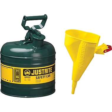 Justrite® Type I Safety Cans with Funnel, 2 Gal, 9 1/2