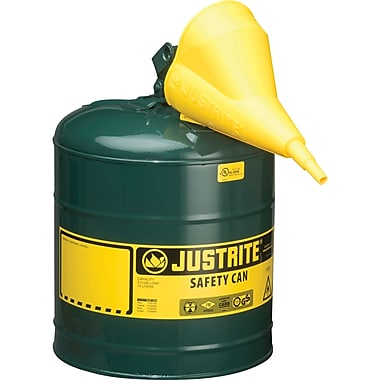 Justrite® Type I Safety Cans with Funnel, 5 Gal.