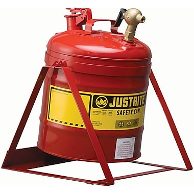 Justrite® Laboratory Safety Cans in Steel & Polyethylene, Steel Plate Tilt Can and Stand
